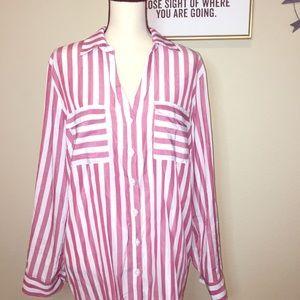 New York & Co. Striped Longsleeve Blouse